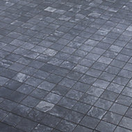 Shaded slate Anthracite Stone effect Mosaic Porcelain Mosaic tile, (L)305mm (W)305mm