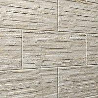 Shaded slate Beige Matt 3D decor Stone effect Porcelain Wall Tile, Pack of 6, (L)600mm (W)300mm