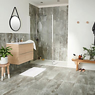 Shaded Slate Grey Matt Stone effect Porcelain Floor tile, Pack of 6, (L)600mm (W)300mm