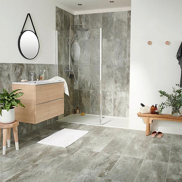 Shaded Slate Grey Matt Stone Effect, Porcelain Bathroom Tile Floor