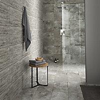 Shaded slate Grey Stone effect Porcelain Mosaic tile, (L)305mm (W)305mm