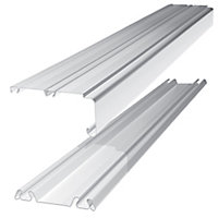 Shaker White Sliding wardrobe door track (L)2692mm