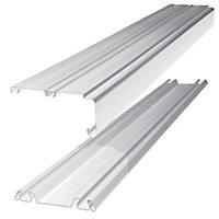 Shaker White Sliding wardrobe door track (L)3607mm