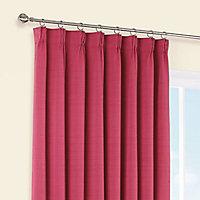 Shelley Strawberry Semi plain Lined Pencil pleat Curtains (W)167cm (L)183cm, Pair