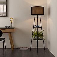 Shelved Matt Black Floor lamp