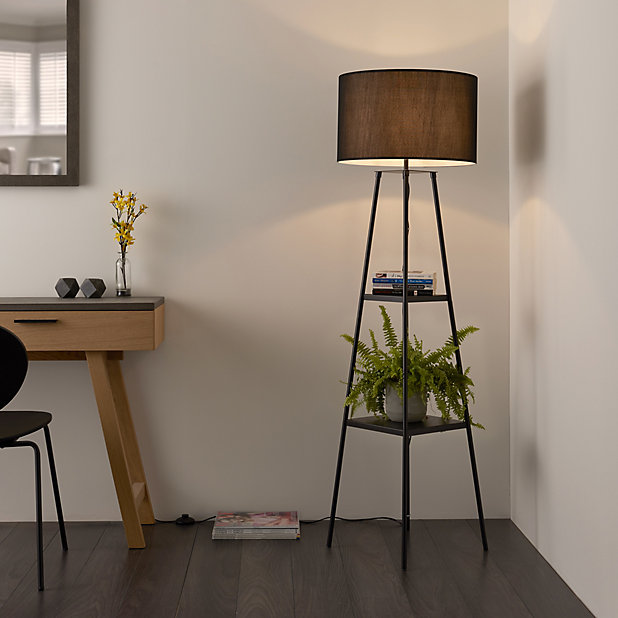 Shelved Matt Black Floor Lamp Diy At B Q, Corner Floor Lamp With Shelves Uk