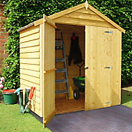 Shire 6x4 Apex Overlap Honey brown Wooden Shed with floor