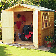 Shire Alderney 7x7 Apex Dip treated Shiplap Honey brown Wooden Shed with floor (Base included) - Assembly service included