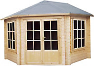 Shire Belvoir 10x10 Toughened glass Apex Tongue & groove Wooden Cabin