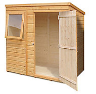 Shire Caldey 6x4 Pent Dip treated Shiplap Wooden Shed with floor