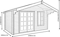 Shire Cannock 12x10 Toughened glass Apex Tongue & groove Wooden Cabin