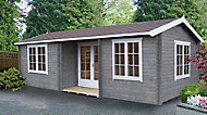 Shire Elveden 26x14 Toughened glass Apex Tongue & groove Wooden Cabin