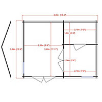 Shire Firestone 13x17 Toughened glass Apex Tongue & groove Wooden Cabin - Assembly service included