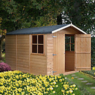 Shire Guernsey 10x7 Apex Dip treated Shiplap Honey brown Wooden Shed with floor - Assembly service included