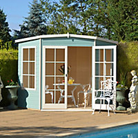 Shire Hampton 8x8 Toughened glass Pent Shiplap Wooden Summer house
