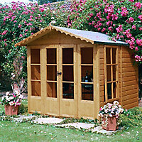 Shire Kensington 7x7 Apex Shiplap Wooden Summer house (Base included)