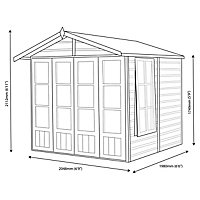 Shire Kensington 7x7 Toughened glass Apex Shiplap Wooden Summer house (Base included) - Assembly service included