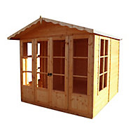 Shire Kensington 7x7 Toughened glass Apex Shiplap Wooden Summer house (Base included)