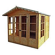 Shire Kensington 7x7 Toughened glass Apex Shiplap Wooden Summer house