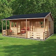 Shire Kingswood 18x20 Toughened glass Apex Tongue & groove Wooden Cabin