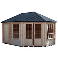 Shire Leygrove 14x10 Toughened glass Apex Tongue & groove Wooden Cabin