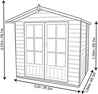 Shire Lumley 7x5 Apex Shiplap Wooden Summer house (Base included)