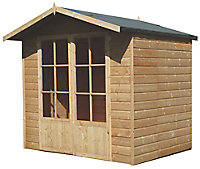 Shire Lumley 7x5 Toughened glass Apex Shiplap Wooden Summer house (Base included)