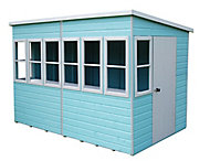 Shire Sun Pent 10x6 Pent Dip treated Shiplap Wooden Shed with floor