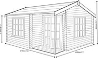 Shire Twyford 14x17 Apex Tongue & groove Wooden Cabin