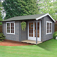 Shire Twyford 14x17 Toughened glass Apex Tongue & groove Wooden Cabin