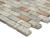 Shoreditch Copper effect Natural stone Mosaic tile sheets, (L)298mm (W)304mm
