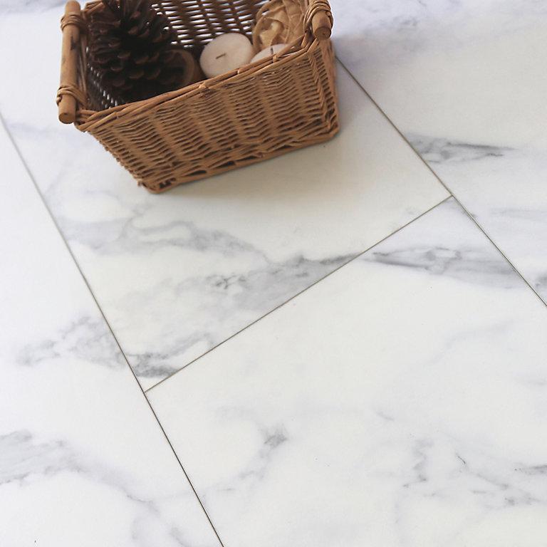 Showhome White Marble Effect Luxury, White Linoleum Flooring