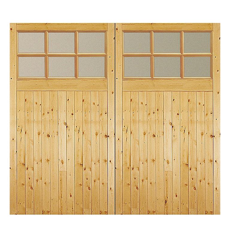 Side Hung Glazed Garage Door Pair H 2134mm W 2134mm Diy At B Q