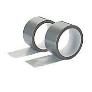 Silver effect Duct Tape (L)10m (W)50mm, Pack of 2