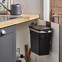 Simplehuman Black Metal & plastic Rectangular Integrated Kitchen Bin, 10L
