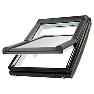 Site Premium Anthracite Aluminium alloy Centre pivot Roof window, (H)980mm (W)780mm