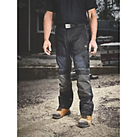"Site Ridgeback Black & Grey Men's Multi-pocket trousers, W34"" L32"""