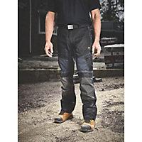 "Site Ridgeback Black & Grey Men's Multi-pocket trousers, W38"" L32"""