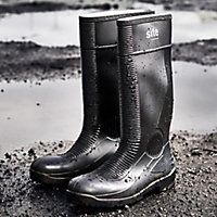 Site Trench Black Safety wellington boots, Size 11