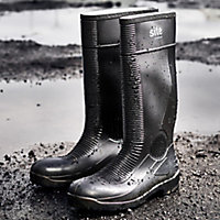 Site Trench Black Safety wellington boots, Size 12