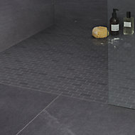 Slate Anthracite Polished Natural stone Mosaic tile sheet, (L)300mm (W)300mm