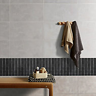 Slate Anthracite Polished Natural stone Mosaic tile sheet, (L)303mm (W)304mm