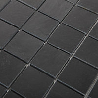 Slate Anthracite Stone effect Natural structure Natural stone Mosaic tile sheets, (L)303mm (W)304mm