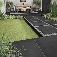 Slate Black Matt Stone effect Porcelain Outdoor Floor tile, Pack of 2, (L)600mm (W)600mm