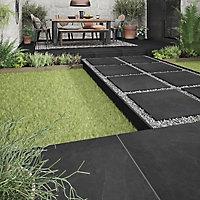 Slate Black Matt Stone effect Porcelain Outdoor Floor tile, Pack of 2, (L)600mm (W)600mm