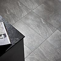 Slate Light grey Matt Flat Stone effect Porcelain Wall & floor Tile, Pack of 6, (L)590mm (W)290mm
