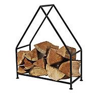 Slemcka Contemporary Black Steel Log basket (H)610mm (D)90mm