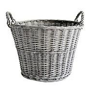 Slemcka Contemporary Grey Wicker Log basket (D)450mm