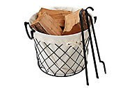 Slemcka Fireside Log basket (H) 290mm (D)360mm