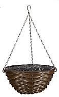Smart Garden Faux rattan Plastic Hanging basket, 35cm